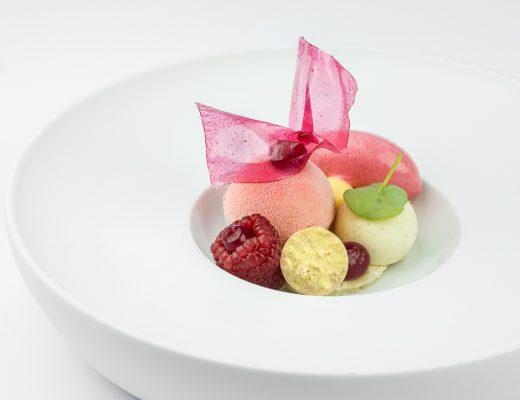 framboos cheescake limoen yoghurt roos