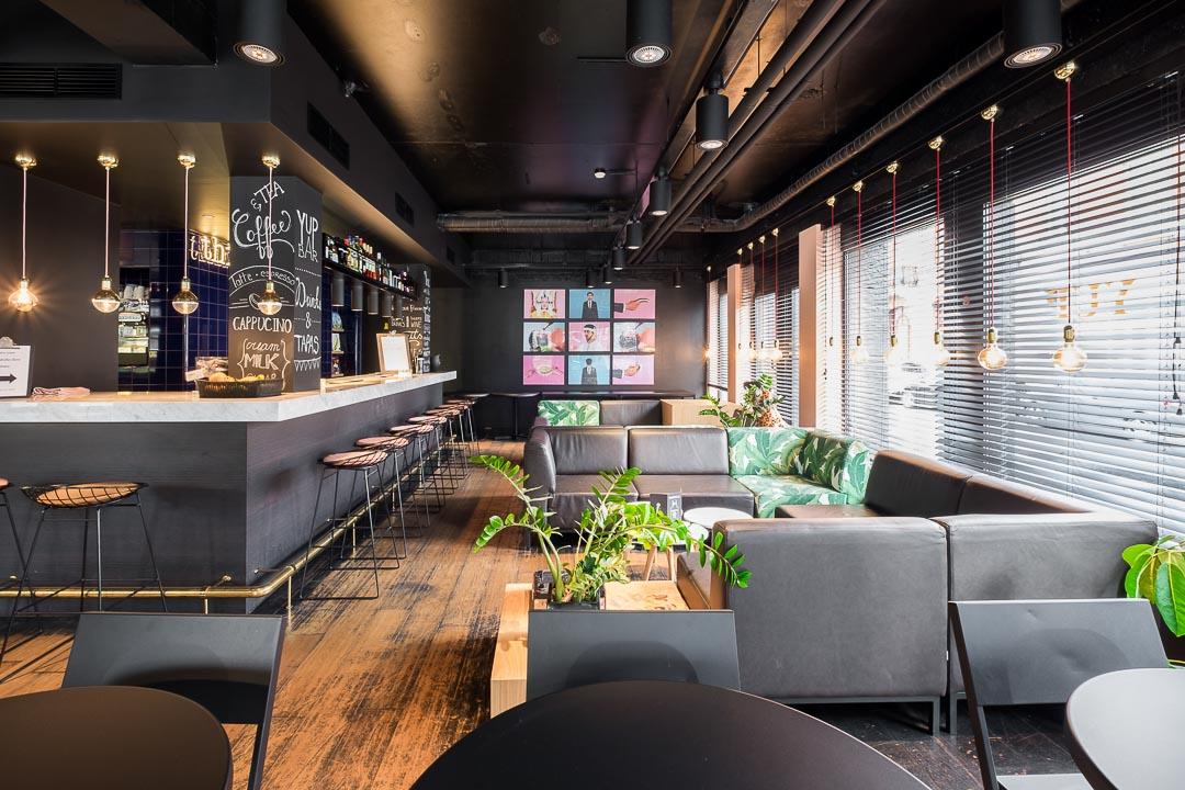 Hotel Yup Hasselt bar zithoek interieur
