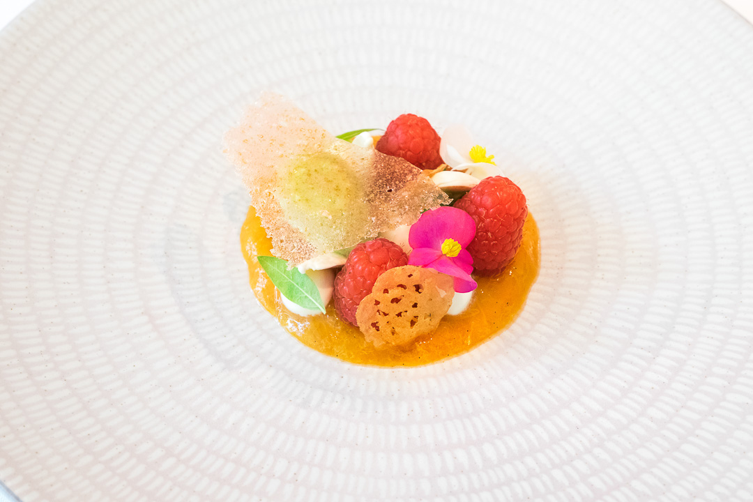 Dessert abrikoos, framboos, ijzekruid boury restaurant roeselare
