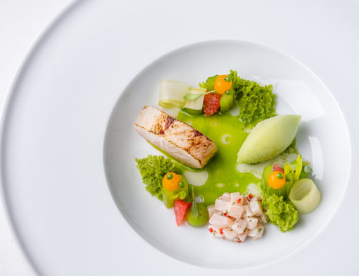 Burg Schwarzenstein and Nils Henkel by Hungry for More. Fauna Menu. Kingfish, ceviche, celery and grapefruit. Top view.