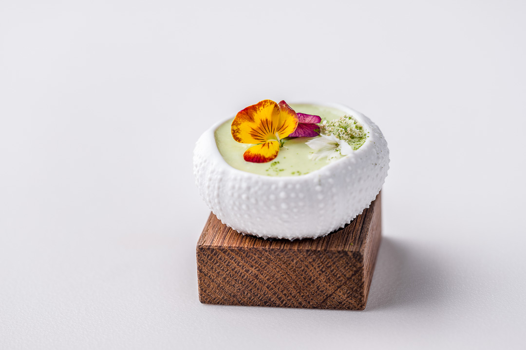 Burg Schwarzenstein and Nils Henkel by Hungry for More. Prolog. Gazpacho Andaluz, king crab and japapeño foam.