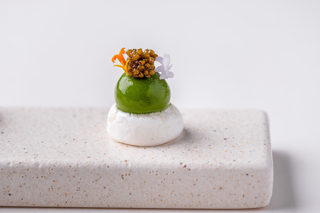 Burg Schwarzenstein and Nils Henkel by Hungry for More. Prolog. Lamb's lettuce, lemon meringue and ossietra caviar.