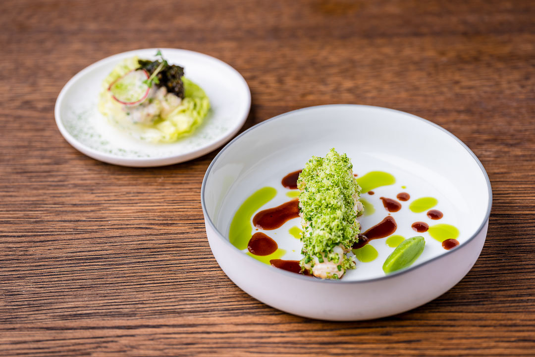 Langoustine, broccoli, onion, green nori and caviar at Restaurant Daalder in Amsterdam