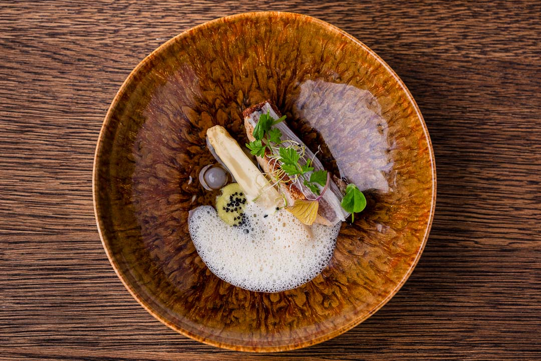 Turbot, white asparagus, mustard and tarragon at Restaurant Daalder in Amsterdam