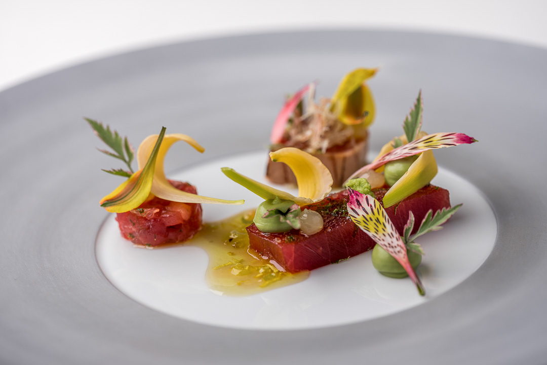 Werneckhof Munich by Hungry for More. Balfégo Tuna, lilies, avocado & ginger. Front view.
