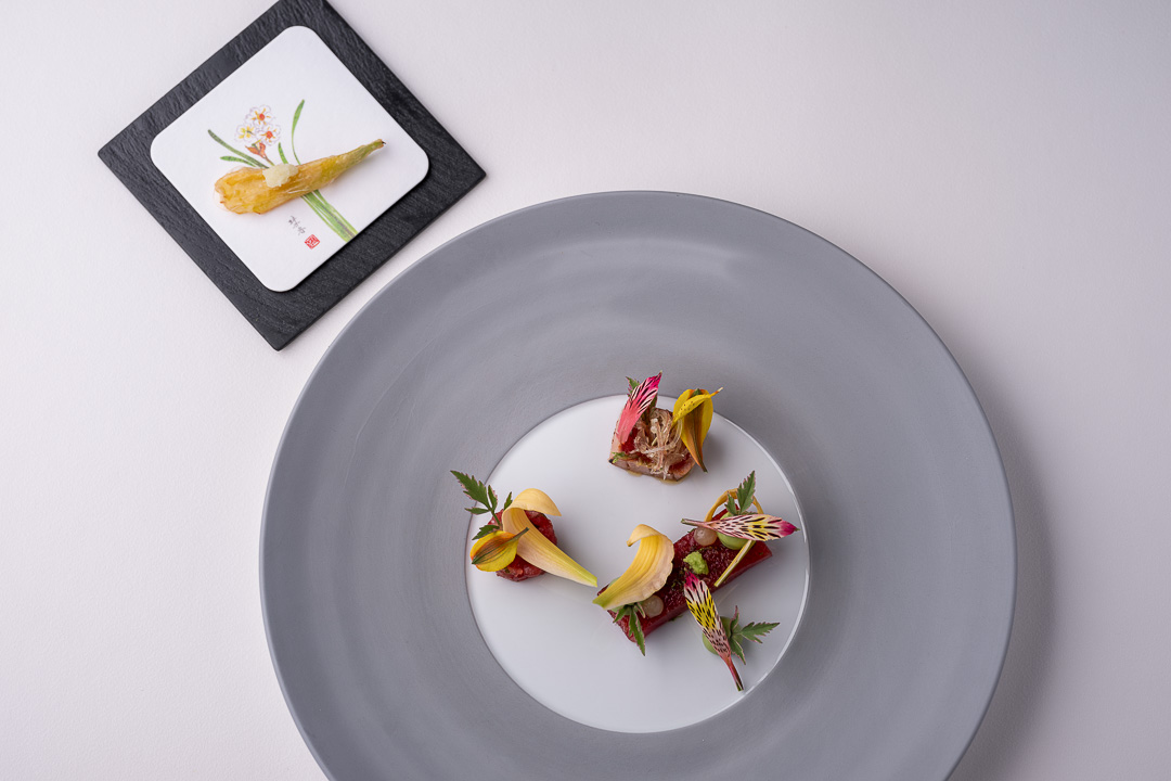 Werneckhof Munich by Hungry for More. Balfégo Tuna, lilies, avocado & ginger.