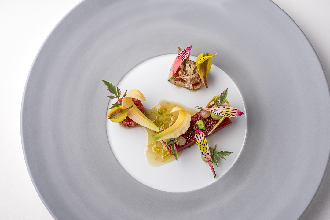 Werneckhof Munich by Hungry for More. Balfégo Tuna, lilies, avocado & ginger. Top view.
