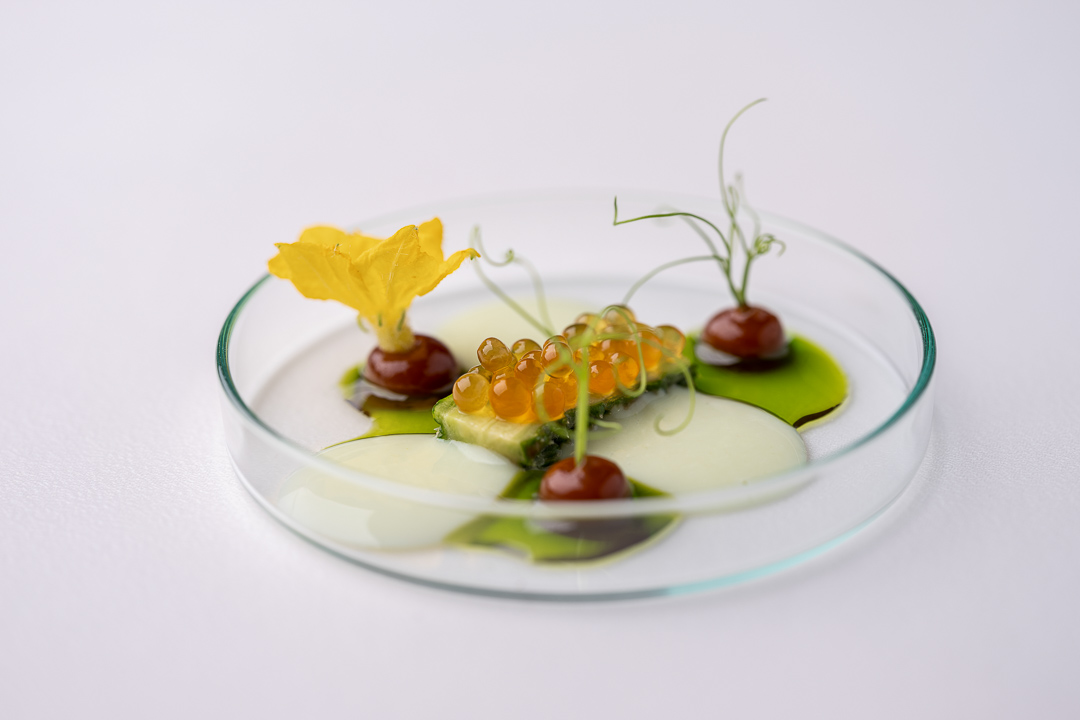 Werneckhof Munich by Hungry for More. Japanese Cucumber, Miso, Char caviar, Edamame vichysoisse, Parsley oil. Front view.