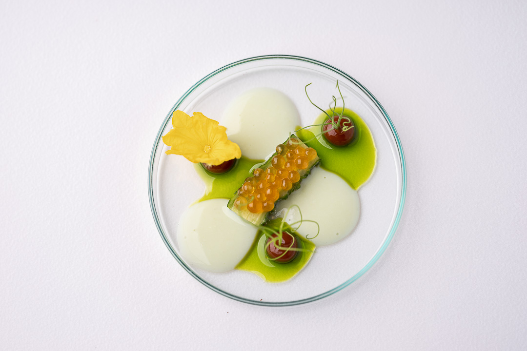 Werneckhof Munich by Hungry for More. Japanese Cucumber, Miso, Char caviar, Edamame vichysoisse, Parsley oil. Top view.
