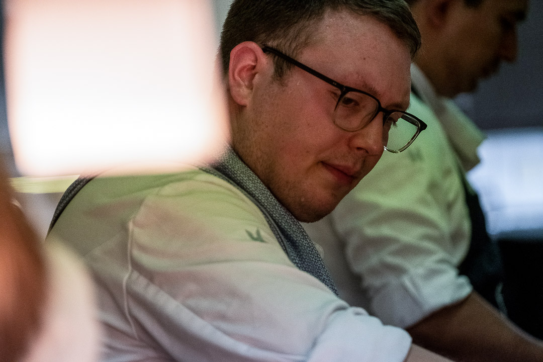 Werneckhof Munich by Hungry for More. Male kitchen staff member with glasses.