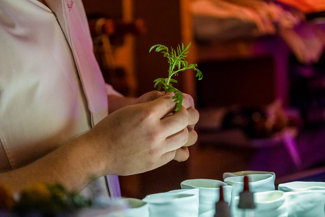 Werneckhof Munich by Hungry for More. Kitchen staff holding herbs.