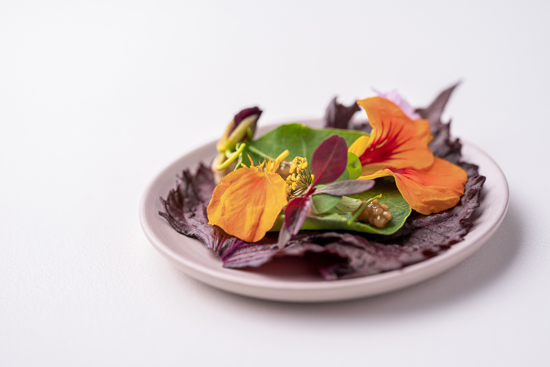 Werneckhof Munich by Hungry for More. Nasturtium Taco, Shiso leave, broccoli flower, pickled mustard seeds, XO Emulsion, Rocotto Chilli Oil. Close-up.