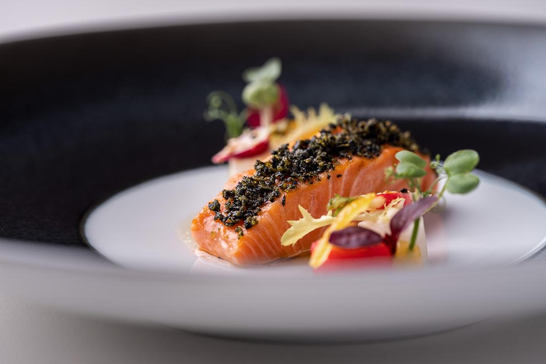 Werneckhof Munich by Hungry for More. Bavarian Salmon Trout, radish, Yuzu, sesame & toasted Kombu. Close-up 1.
