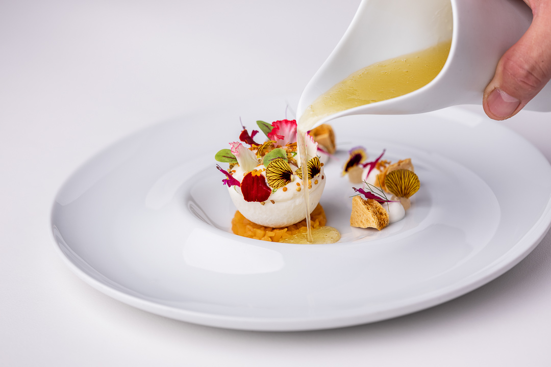 Werneckhof Munich by Hungry for More. Shiso, medlar, elderflower & honey. Front action view.