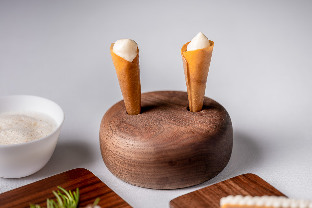 Enoteca Paco Pérez by Hungry for More. Details of the cones of the appetizer by chef Xisco Simon.