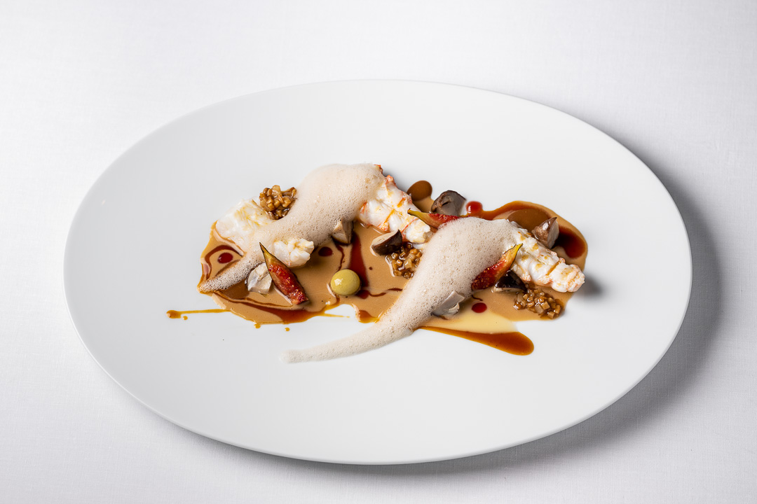 Enoteca Paco Pérez by Hungry for More. Top shot of the dish with crayfish by chef Xisco Simon.