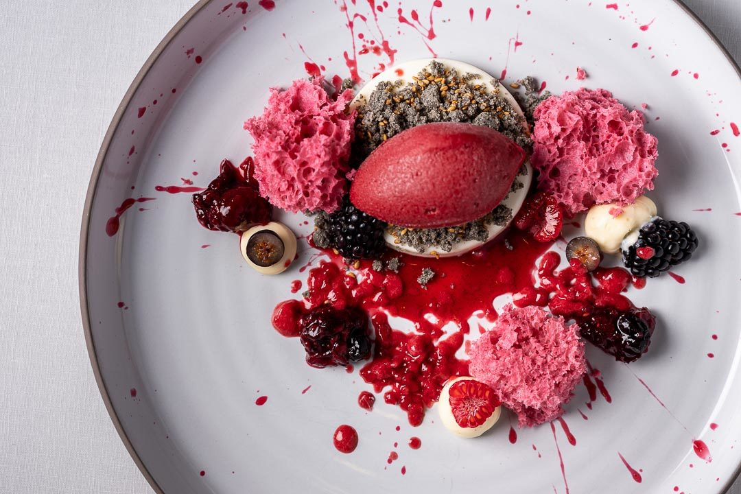 Enoteca Paco Pérez by Hungry for More. Top shot of the dessert with red fruit by chef Xisco Simon.