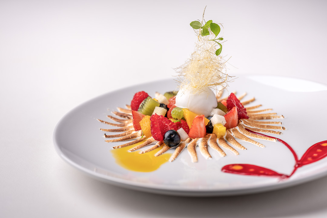 La Truffe Noire by Hungry for More. Details of the dessert with fruit and merengue by chef Luigi Ciciriello.