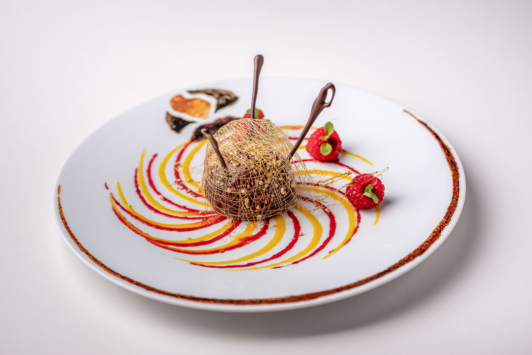La Truffe Noire by Hungry for More. Top shot of the dessert with chocolate by chef Luigi Ciciriello.