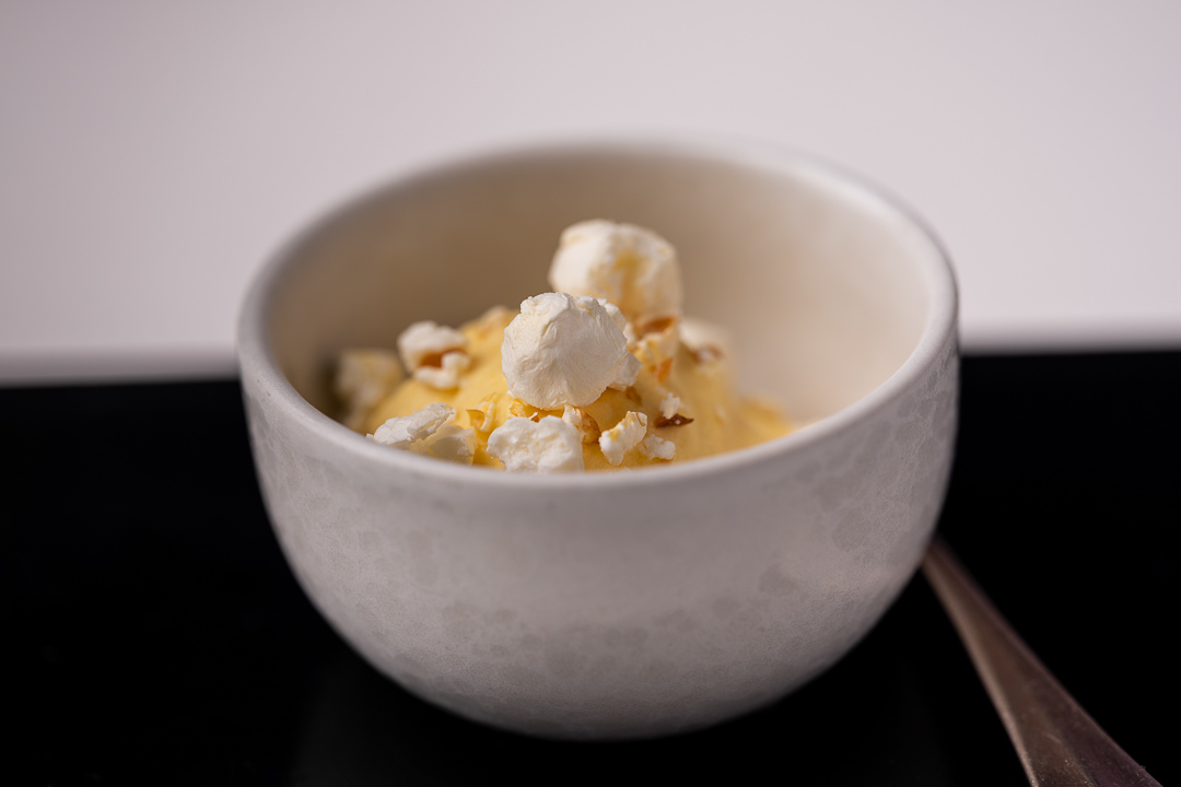 La Truffe Noire by Hungry for More. Details of the espuma of corn by chef Luigi Ciciriello.