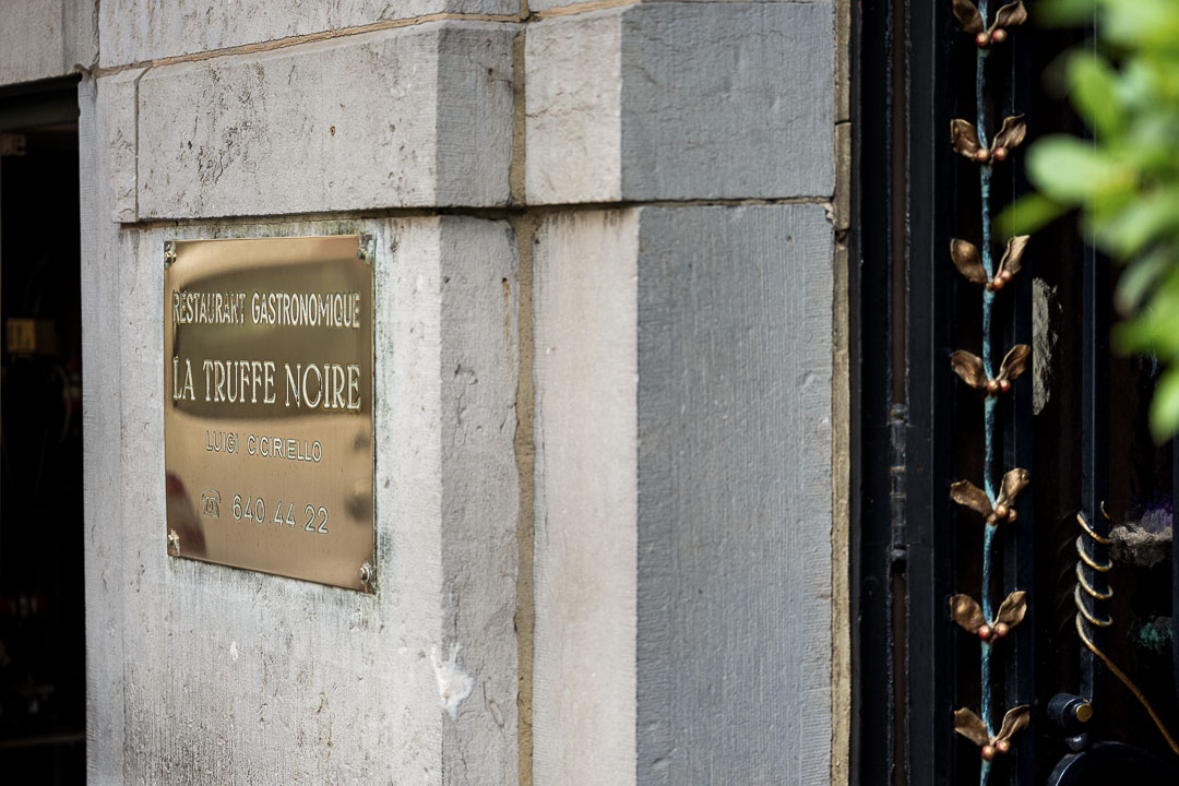 La Truffe Noire by Hungry for More. Picture of the name plate in front of the restaurant.