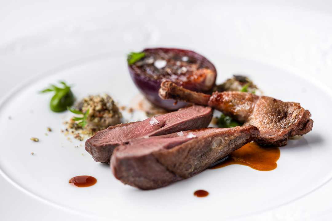 Mosconi by Hungry for More. Details of the main course with pigeon by chef Ilario Mosconi.