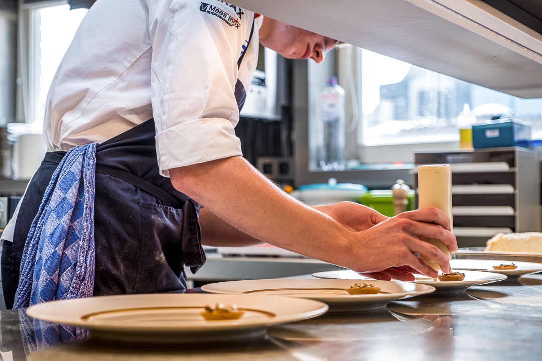 S.Pellegrino Young Chef by Hungry for More. Guus preparing the first steps of his dish.