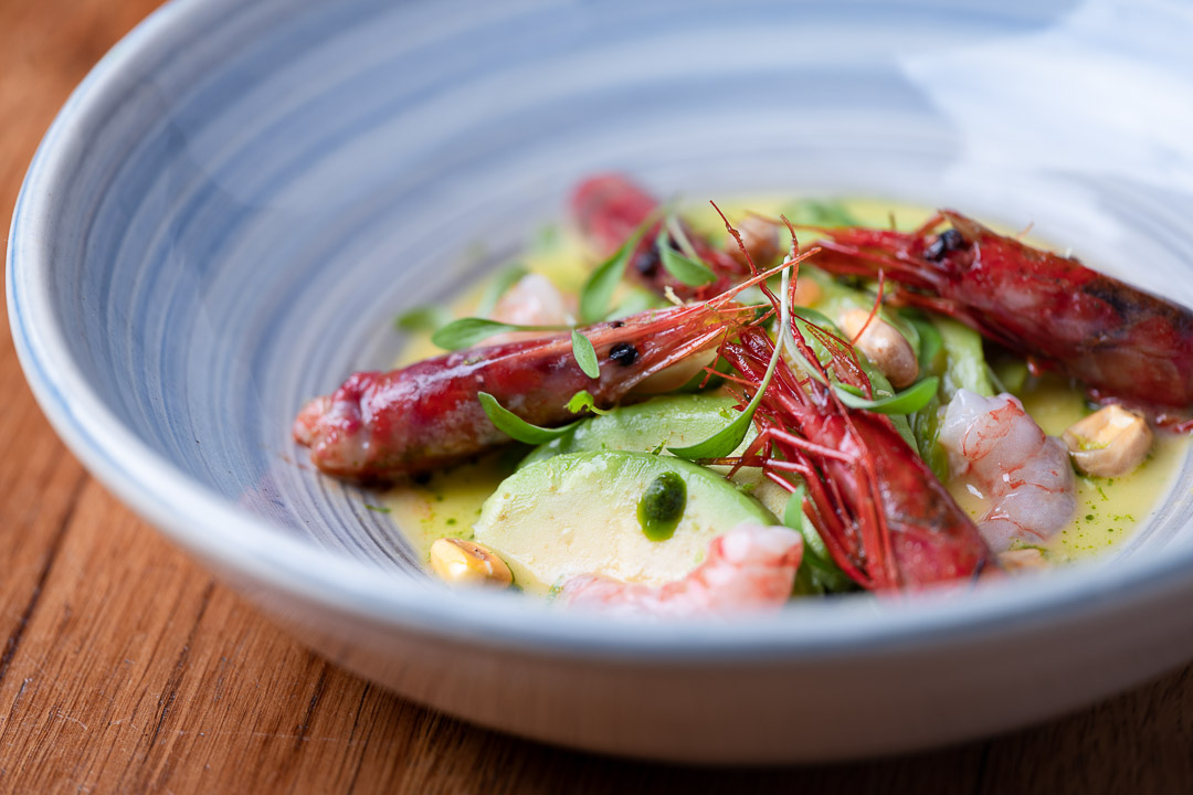 Suculent by Hungry for More. Ceviche of red prawns with avocado and corn by chef Antonio Romero.