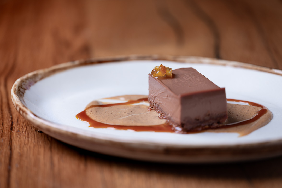 Suculent by Hungry for More. Close-up of the chocolate and hazelnut dessert by chef Antonio Romero.