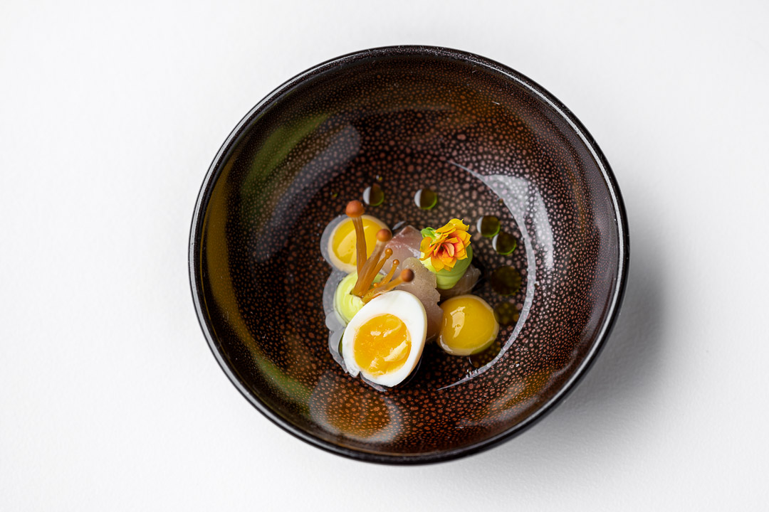 Kommilfoo by Hungry for More. Top shot of the amuse with eggs by chef Olivier de Vinck.
