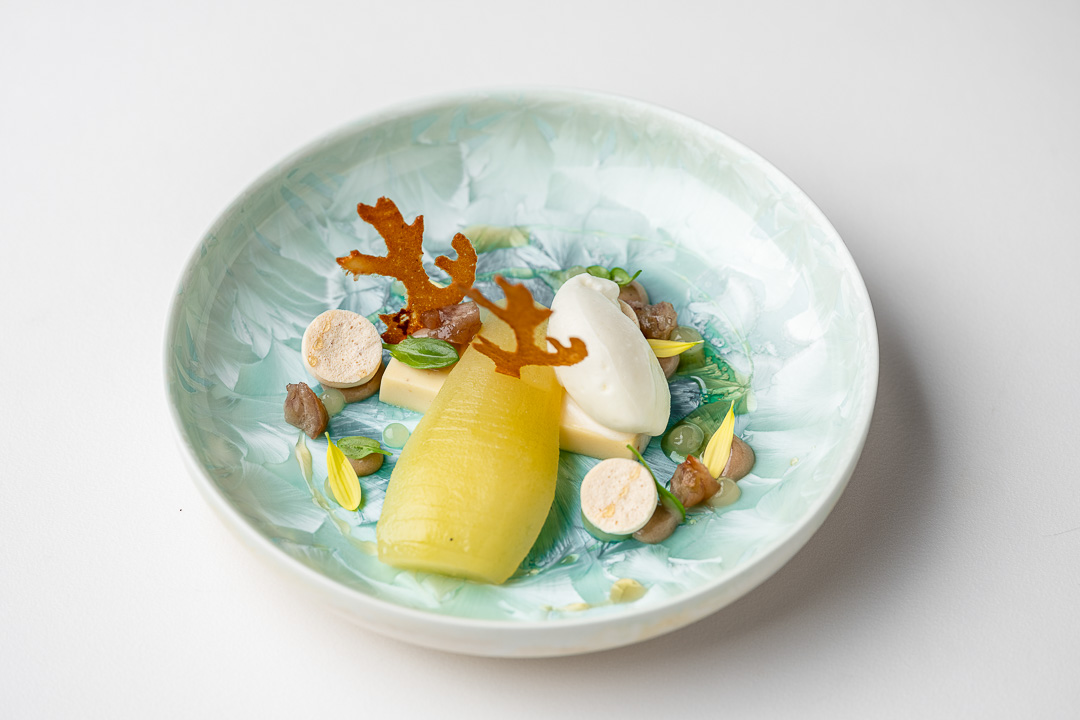 Kommilfoo by Hungry for More. Top shot of the dessert by chef Olivier de Vinck.