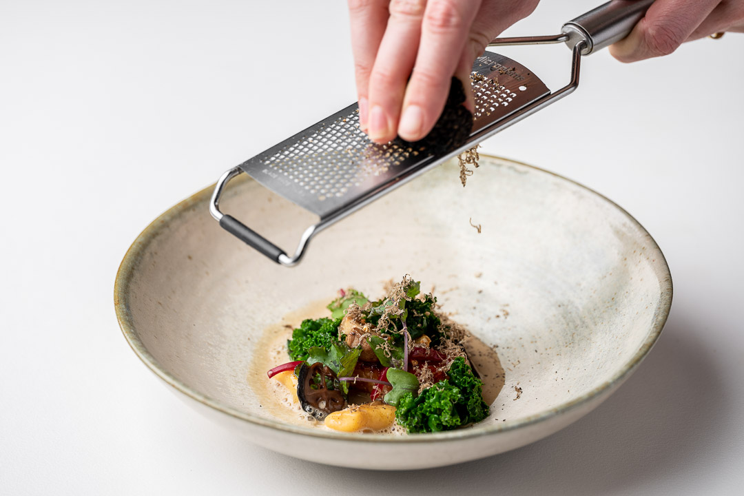 Kommilfoo by Hungry for More. Dish with gnocchi and truffels by chef Olivier de Vinck.