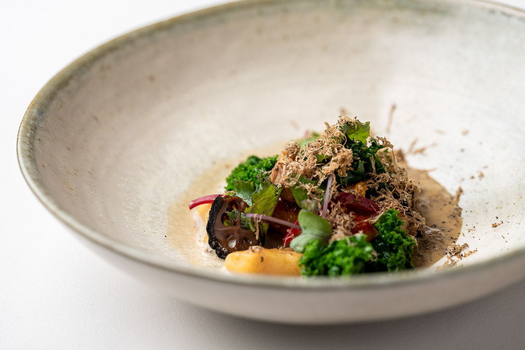 Kommilfoo by Hungry for More. Details of the dish with gnocchi by chef Olivier de Vinck.