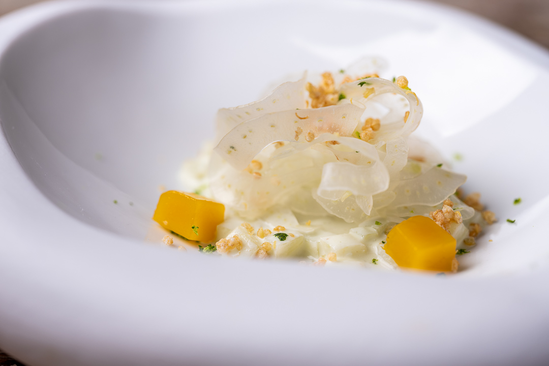 Aponiente by Hungry for More. Fennel fake sweet risotto. Close-up.