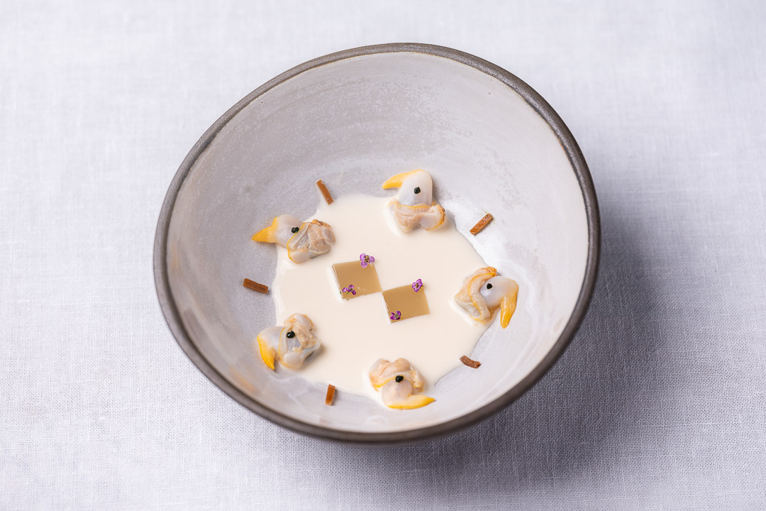 Aponiente by Hungry for More. Gazpachuelo berberecho, cockles and Andalusian cold soup. Top view.