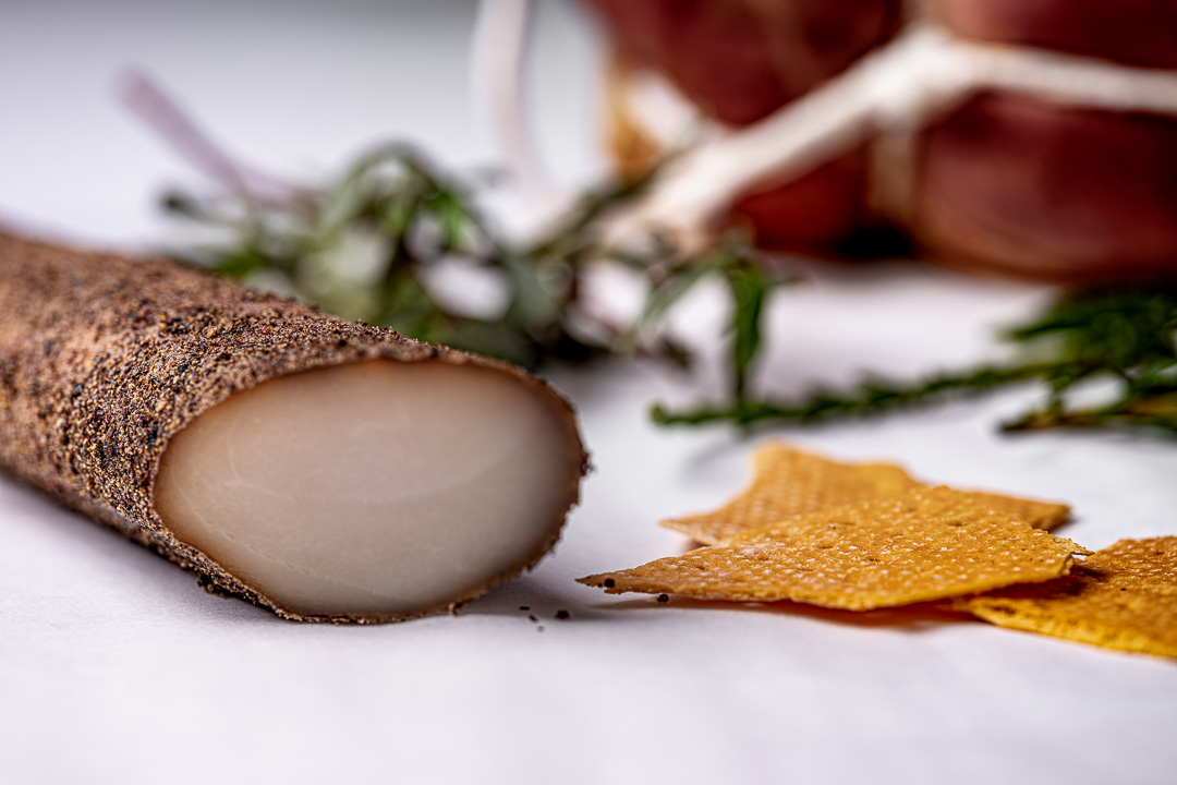 Aponiente by Hungry for More. Marine charcuterie, dogfish guanciale. Close-up.