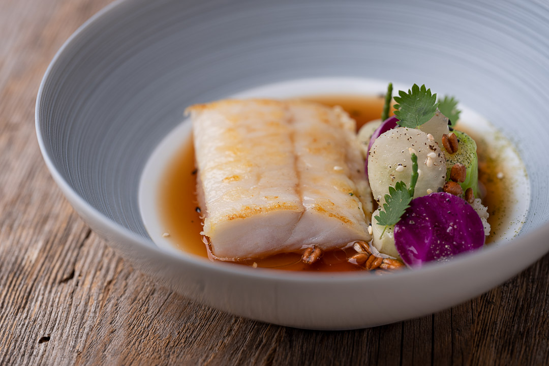 L'Envie by Hungry for More. Details of the fish dish by chef David Grosdent.