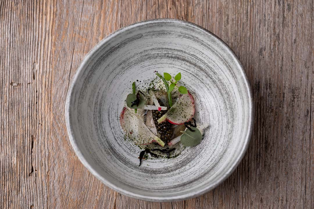 L'Envie by Hungry for More. Top shot of the oyster dish by chef David Grosdent.
