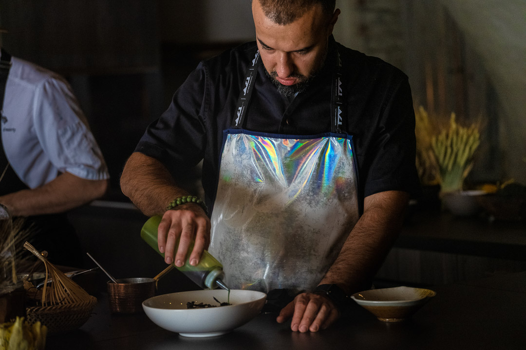 The White Rabbit by Hungry for More. Chef Vladimir Mukhin preparing the cabbage dish.
