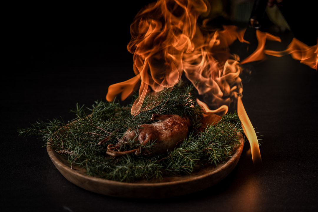 The White Rabbit by Hungry for More. Burning the quail of the dish.