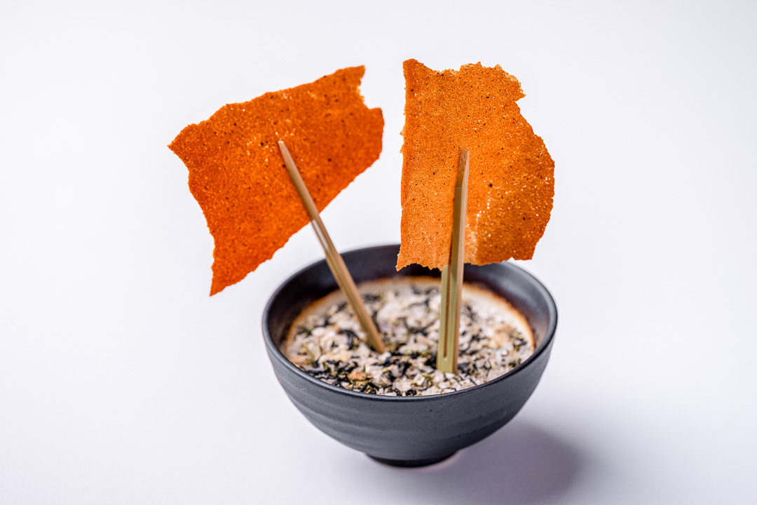 Alain Bianchin by Hungry for More. Appetizer with crispy tuiles by chef Alain Bianchin.