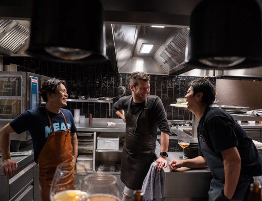 LESS by Hungry for More. Chefs Gert De Mangeleer, Susumu Shimizu and Hiroyasu Kawate.