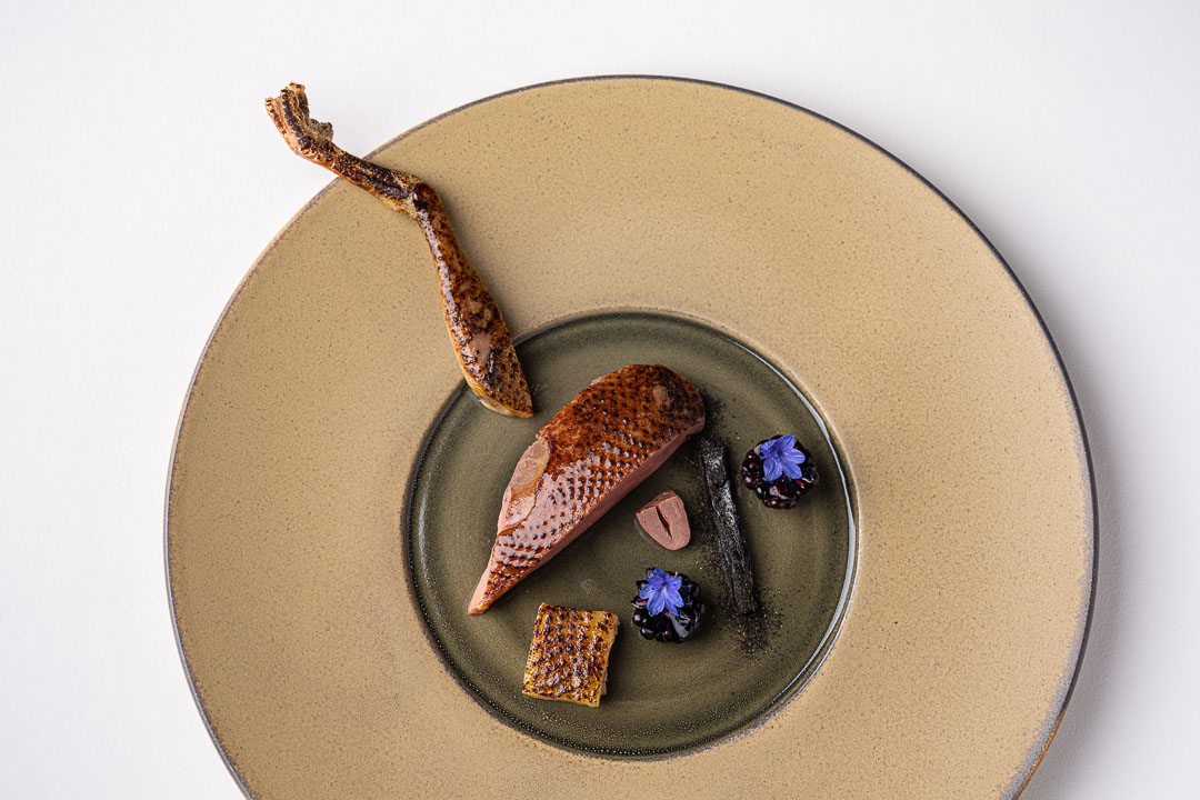 Vinkeles by Hungry for More. Top shot of the pigeon dish by chefs Dennis & Jurgen.