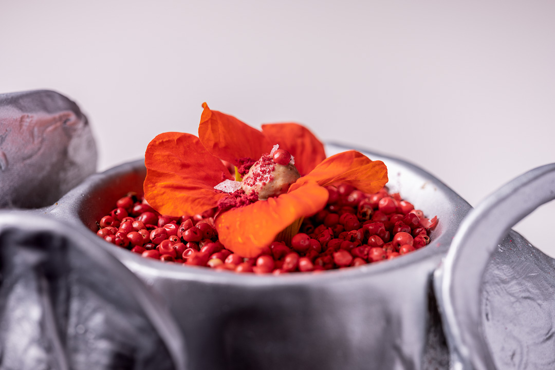 DiverXO by hungry for More_ Mumbai flower with pink pepper by chef David Munoz.