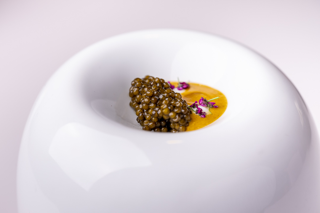 DiverXO by Hungry for More. Roasted caviar with vindaloo curry and Greek yogurt by chef David Munoz