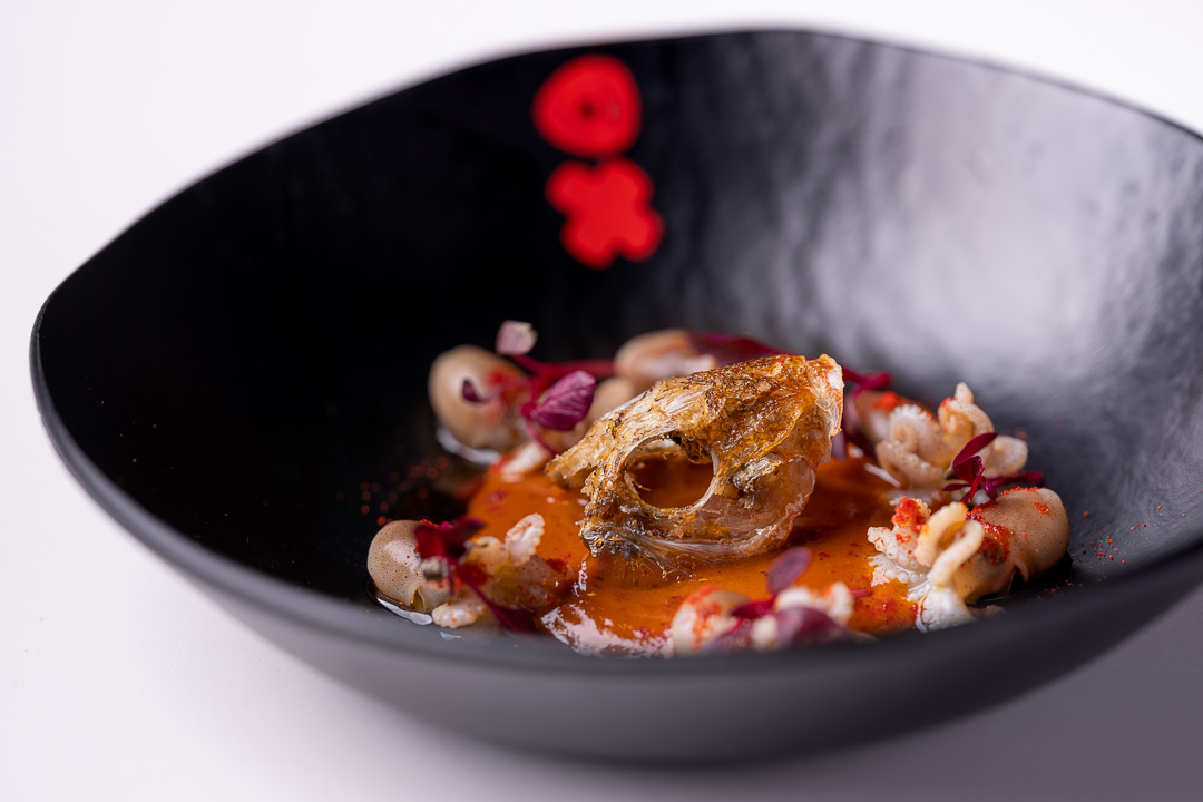 DiverXO by Hungry for More. Detail of toasted butter 'Nam Prik Pao' and dark beer aguachile by chef David Munoz.