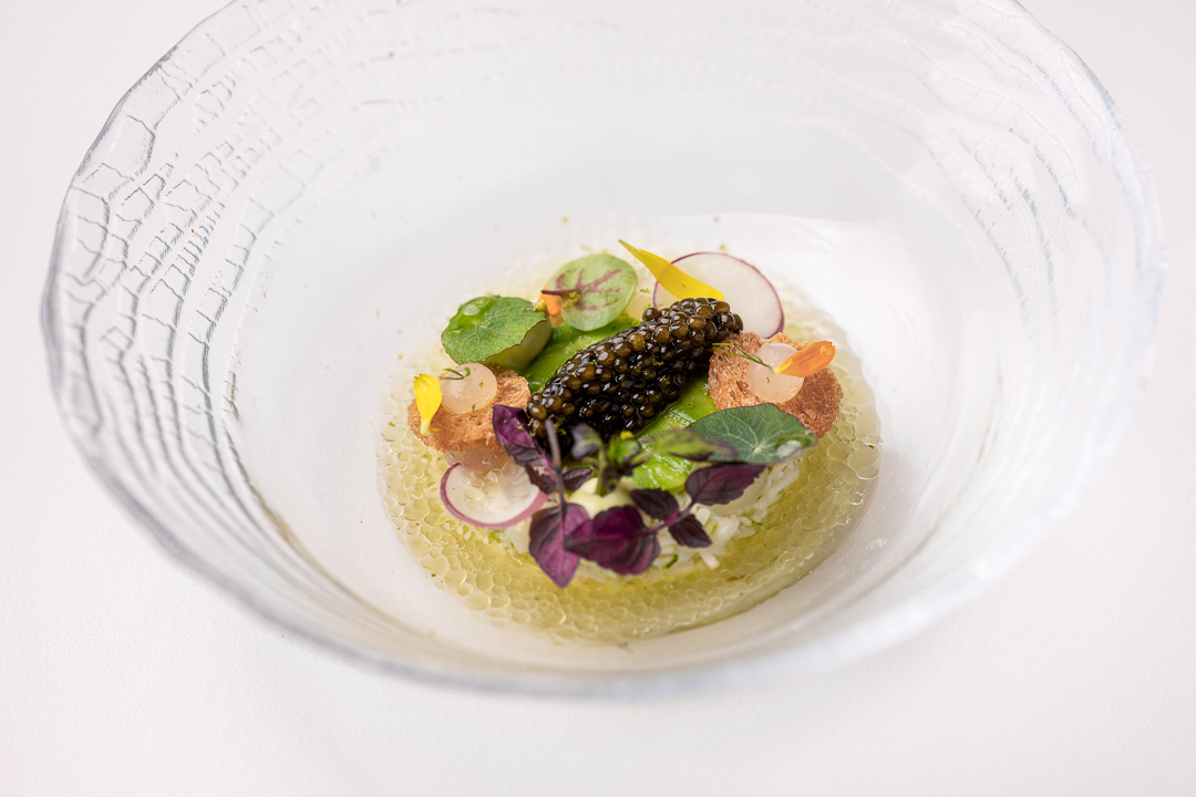 The White Room by Hungry for More. Detail of North Sea crab with avocado, kaffir lime and caviar.