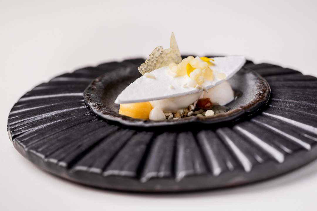 The White Room by Hungry for More. Detail of dessert with lemon, goat's milk and dulce de leche.