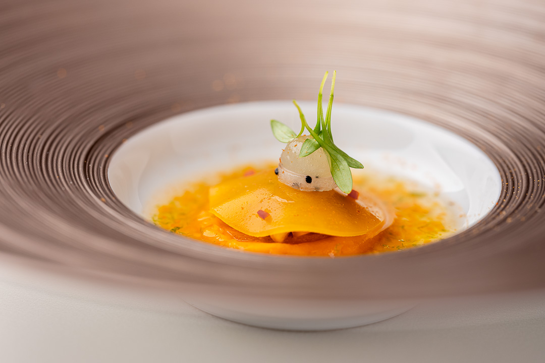 The White Room by Hungry for More. Detail of pumpkin with dashi and coquilles St. Jacques by chefs Jacob Jan Boerma and Randy Karman.