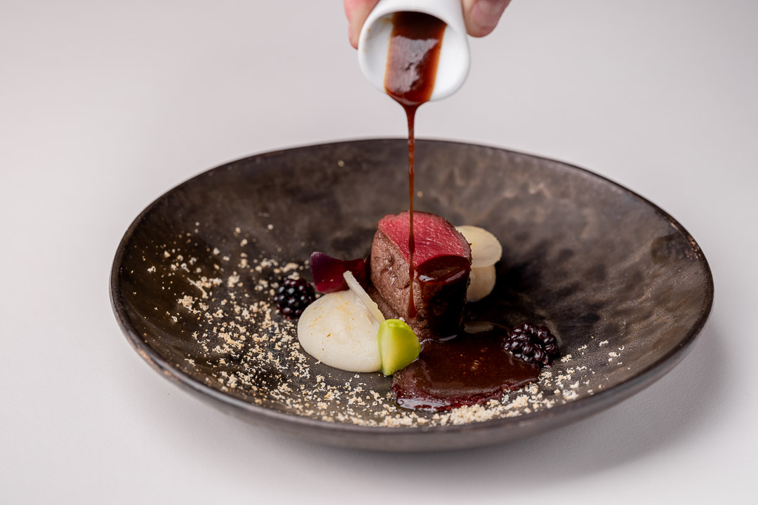 The White Room by Hungry for More. Roe deer with kohlrabi, gnocchi and hazelnut.